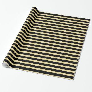 黒および金の縞模様 ラッピングペーパー