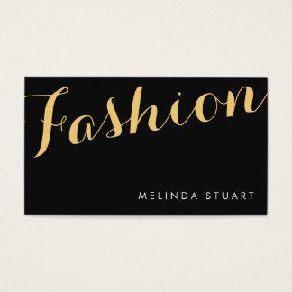 黒および金ゴールドのエレガントなタイポグラフィのファッションのスタイリスト 名刺