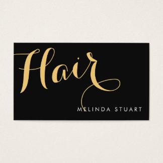 黒および金ゴールドのエレガントなタイポグラフィの美容師 名刺
