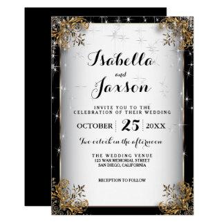 黒および金ゴールドのエレガントな星明かりの夜結婚式 カード