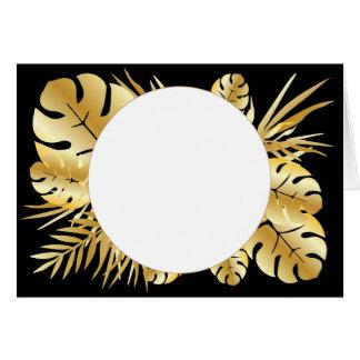 黒および金ゴールドのエレガントな熱帯葉のテンプレート カード