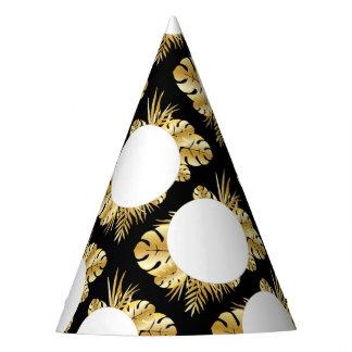 黒および金ゴールドのエレガントな熱帯葉のテンプレート パーティーハット