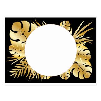 黒および金ゴールドのエレガントな熱帯葉のテンプレート ポストカード