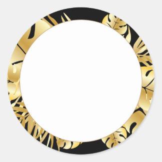 黒および金ゴールドのエレガントな熱帯葉のテンプレート ラウンドシール