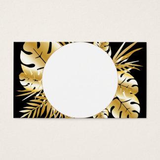 黒および金ゴールドのエレガントな熱帯葉のテンプレート 名刺