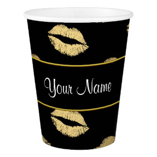 黒および金ゴールドのキス 紙コップ
