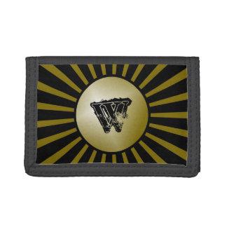 黒および金ゴールドのグランジなモノグラムの男の子の財布 ナイロン三つ折りウォレット