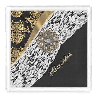 黒および金ゴールドのダマスク織および白いレースの水晶 アクリルトレー