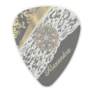 黒および金ゴールドのダマスク織の白いレースの水晶 ポリカーボネートギターピック