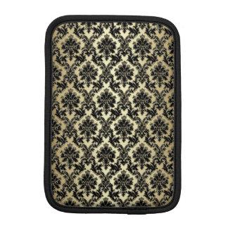 黒および金ゴールドのダマスク織パターン iPad MINIスリーブ