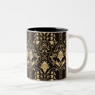 黒および金ゴールドのダマスク織 ツートーンマグカップ
