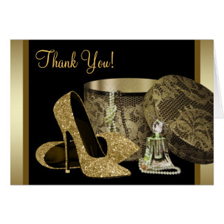 黒および金ゴールドのハイヒールの靴のサンキューカード カード