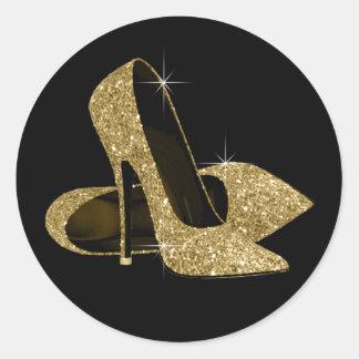 黒および金ゴールドのハイヒールの靴のステッカー ラウンドシール