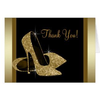 黒および金ゴールドのハイヒールの靴は感謝していしています ノートカード