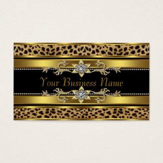 黒および金ゴールドのヒョウ 名刺