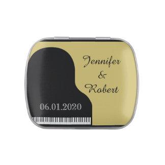 黒および金ゴールドのピアノ結婚式の錫 キャンディー缶