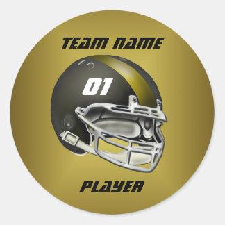 黒および金ゴールドのフットボール用ヘルメット 丸形シールステッカー