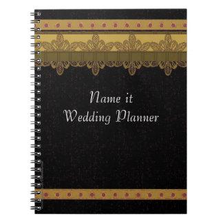 黒および金ゴールドのブロケードのウェディングプランナー ノートブック