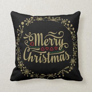黒および金ゴールドのメリークリスマスの雪片の枕 クッション