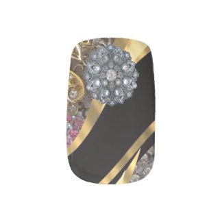 黒および金ゴールドのラインストーンパターン ネイルアート