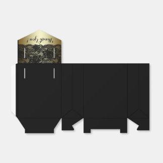 黒および金ゴールドのレースの好意箱 フェイバーボックス