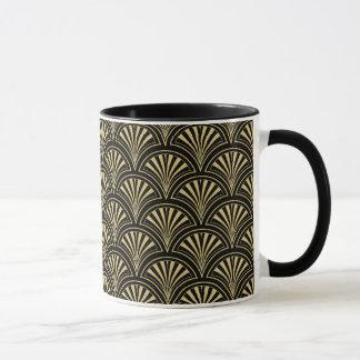 黒および金ゴールドの優雅なDecoファンパターン マグカップ