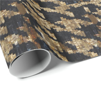 黒および金ゴールドの千鳥格子のなスパンコールの点検 包み紙