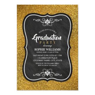 黒および金ゴールドの卒業の招待状のグリッター カード