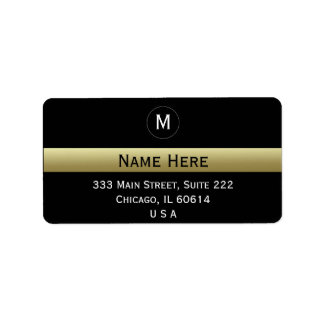 黒および金ゴールドの名前をカスタムするのイニシャルのモノグラム ラベル