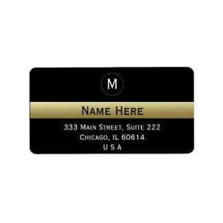 黒および金ゴールドの名前をカスタムするのイニシャルのモノグラム 宛名ラベル