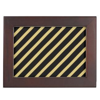 黒および金ゴールドの対角線のストライプ アクセサリーケース