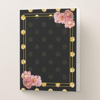 黒および金ゴールドの水玉模様のばら色フレーム ポケットフォルダー
