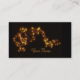 黒および金ゴールドの渦巻く音符 名刺