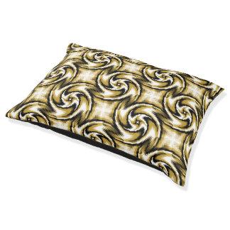 黒および金ゴールドの渦巻 ペットベッド