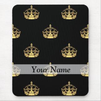 黒および金ゴールドの王冠パターン マウスパッド
