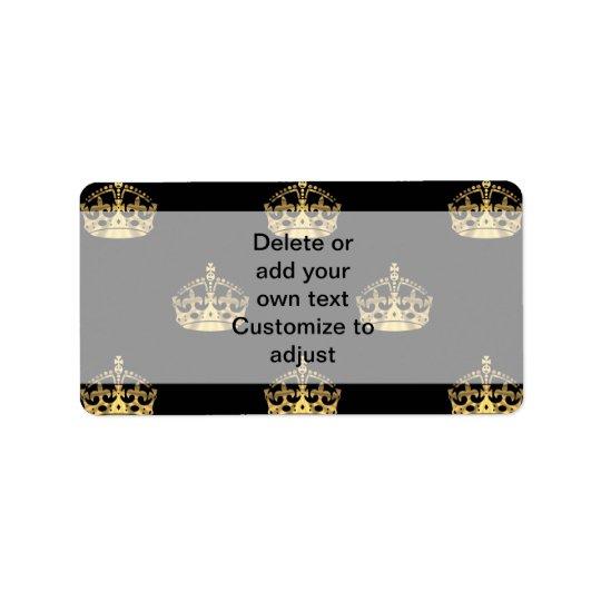黒および金ゴールドの王冠パターン 宛名ラベル