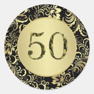 黒および金ゴールドの第50誕生会のステッカー ラウンドシール