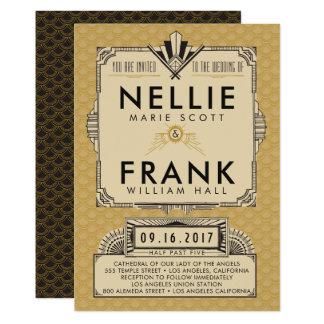 黒および金ゴールドの素晴らしいGatsbyの結婚式招待状 カード