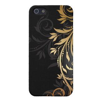 黒および金ゴールドの花柄のつる植物 iPhone 5 カバー
