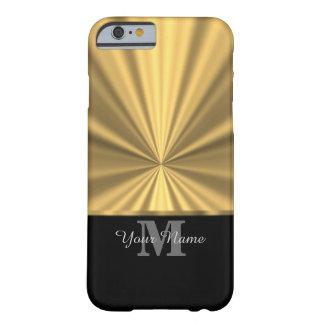 黒および金ゴールドの金属モノグラム BARELY THERE iPhone 6 ケース