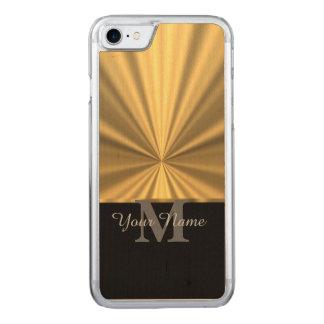 黒および金ゴールドの金属モノグラム CARVED iPhone 8/7 ケース