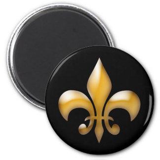 黒および金ゴールドの(紋章の)フラ・ダ・リの磁石 マグネット
