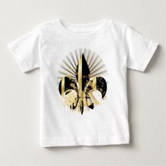 黒および金ゴールドの(紋章の)フラ・ダ・リ ベビーTシャツ