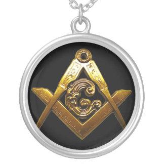 黒および金ゴールドはフリーメーソンのネックレスを設計します シルバープレートネックレス