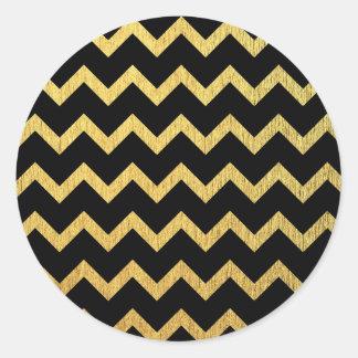 黒および金ゴールドシェブロン ラウンドシール