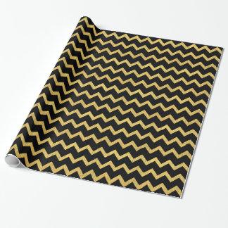 黒および金ゴールドシェブロン ラッピングペーパー