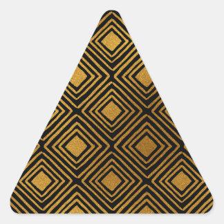 黒および金ゴールドホイルのアールデコパターン 三角形シール