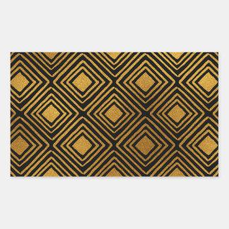 黒および金ゴールドホイルのアールデコパターン 長方形シール