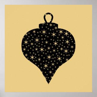 黒および金ゴールド色のクリスマスのつまらないものの設計 ポスター
