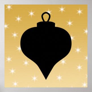 黒および金ゴールド色のクリスマスの設計 ポスター